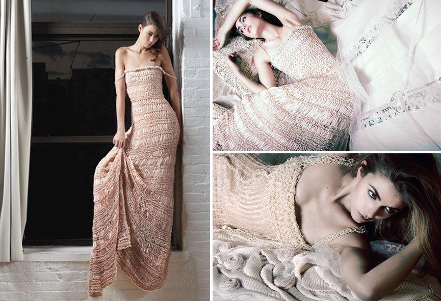 Bootie Knitting Patterns Easy : Blush crochet knit wedding dress