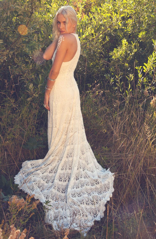 Crochet lace racer back wedding dress
