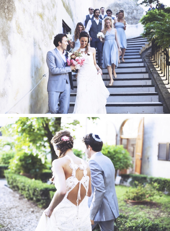 Jewish bride wears white crochet statement back wedding gown
