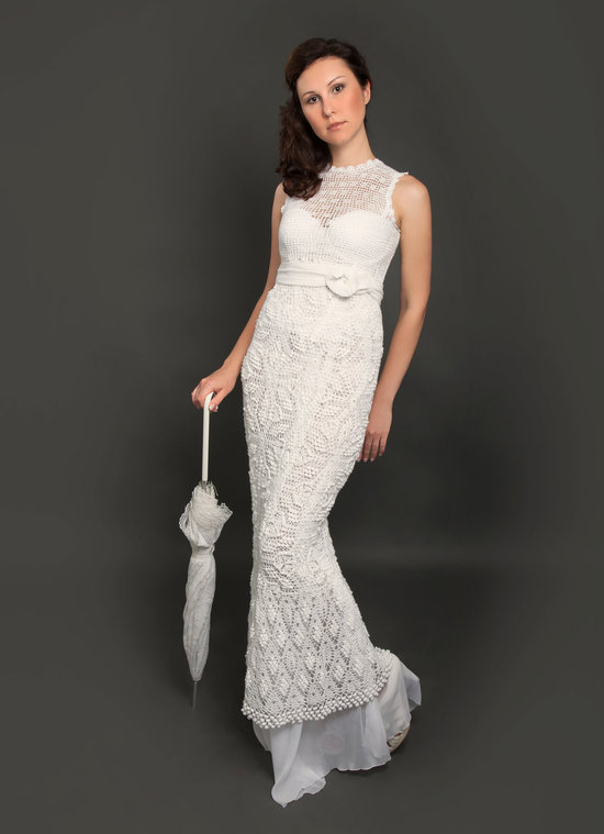 crochet illusion neckline wedding dress