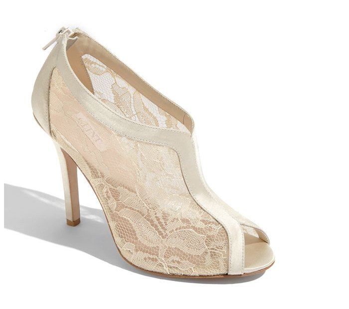 Ivory lace bridal bootie wedding shoes