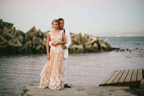 Nude and ivory lace crochet wedding dress