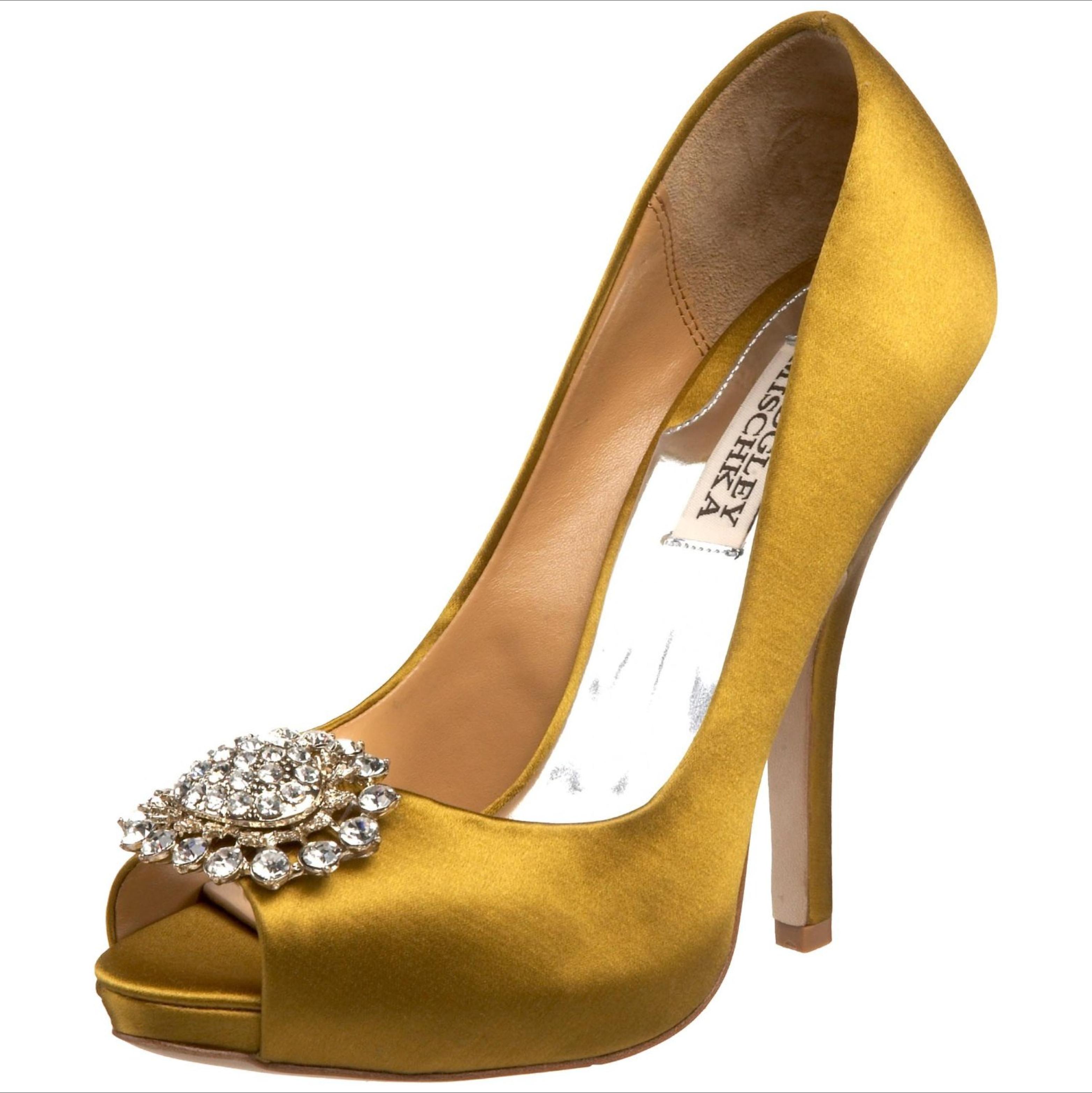 chic gold peeptoe bridal heels onewedcom