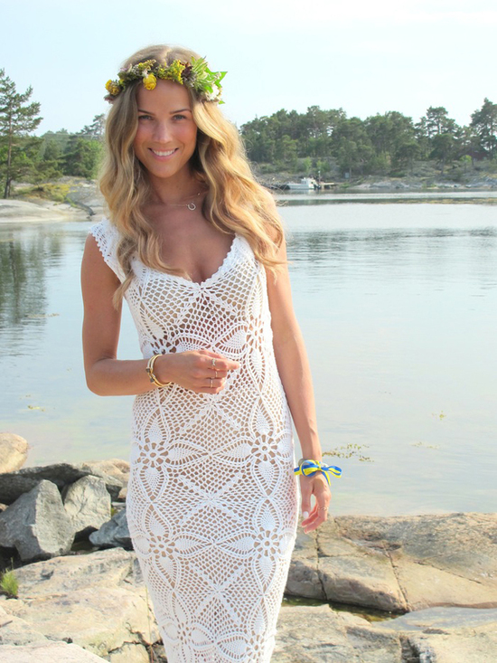 v neck crochet sheath wedding dress