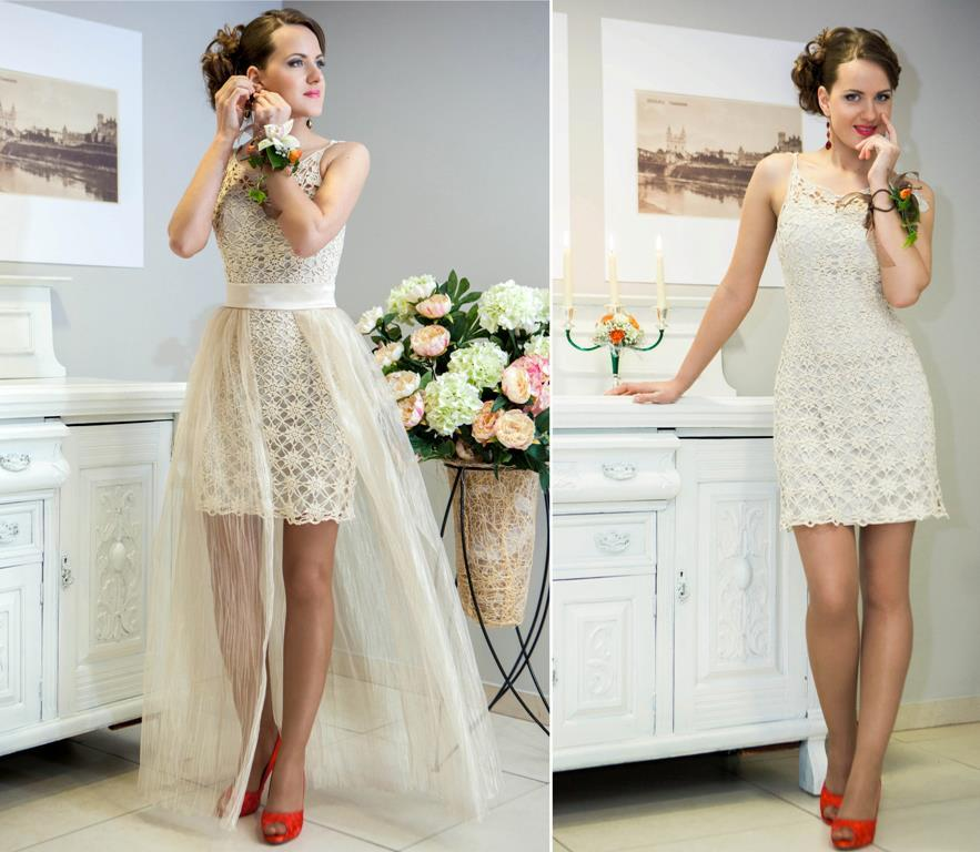 Crocheted Wedding Gown: White Illusion Neckline Crochet Wedding Dress With Tie Up Back
