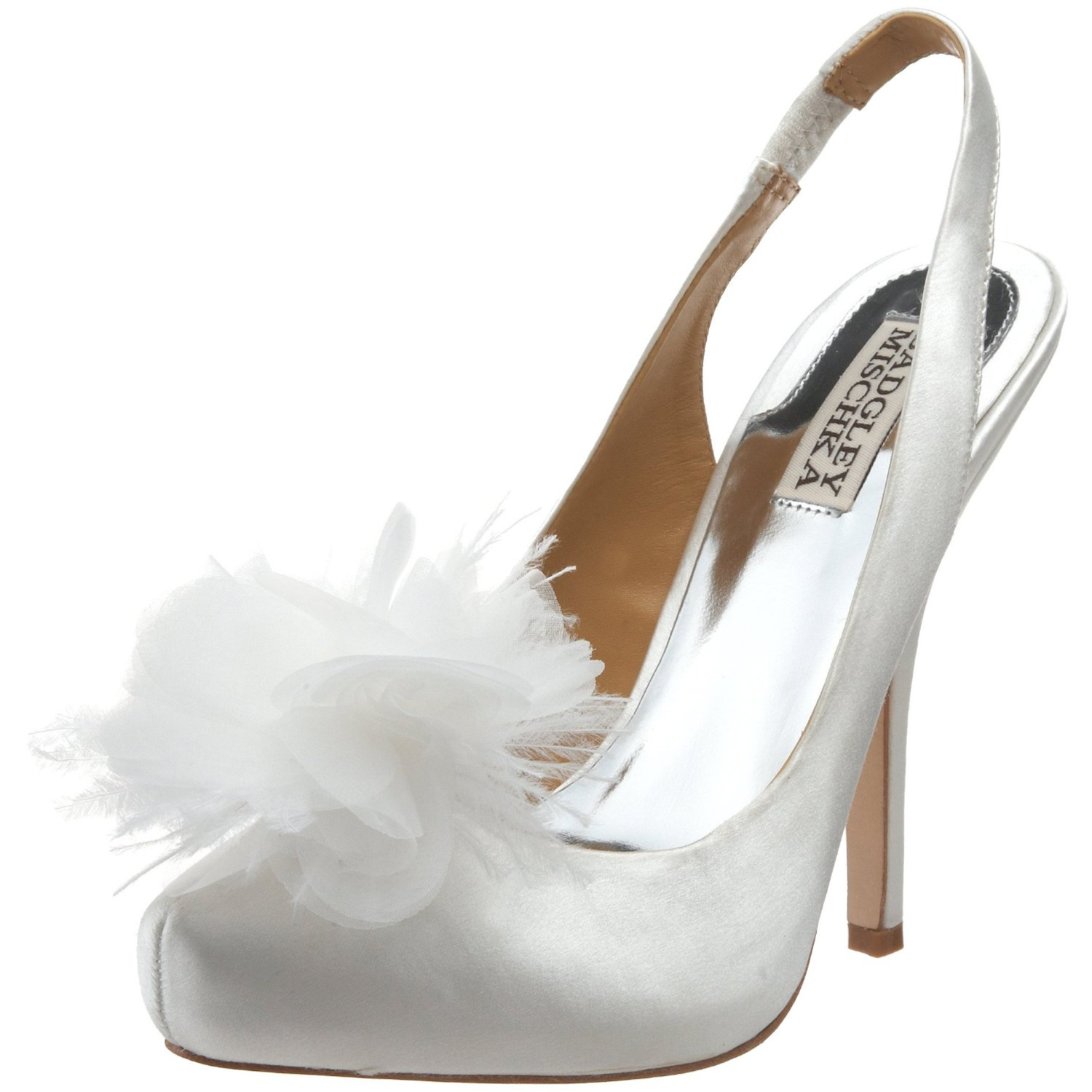 Luxe Gold Satin Peep Toe Wedding Shoes With Vintage Inspired Brooch