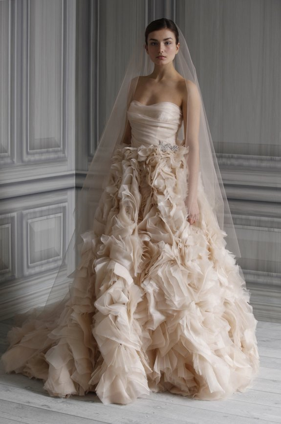 Romantic blush pink Monique Lhuillier wedding dress