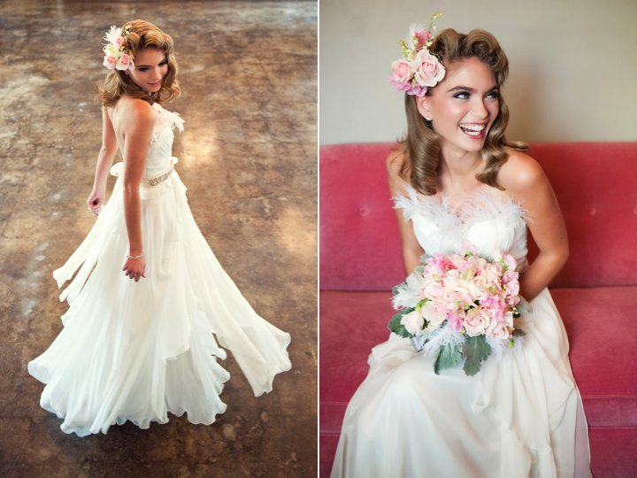 Romantic Wedding Dress And Vintage Wedding Hairstyle