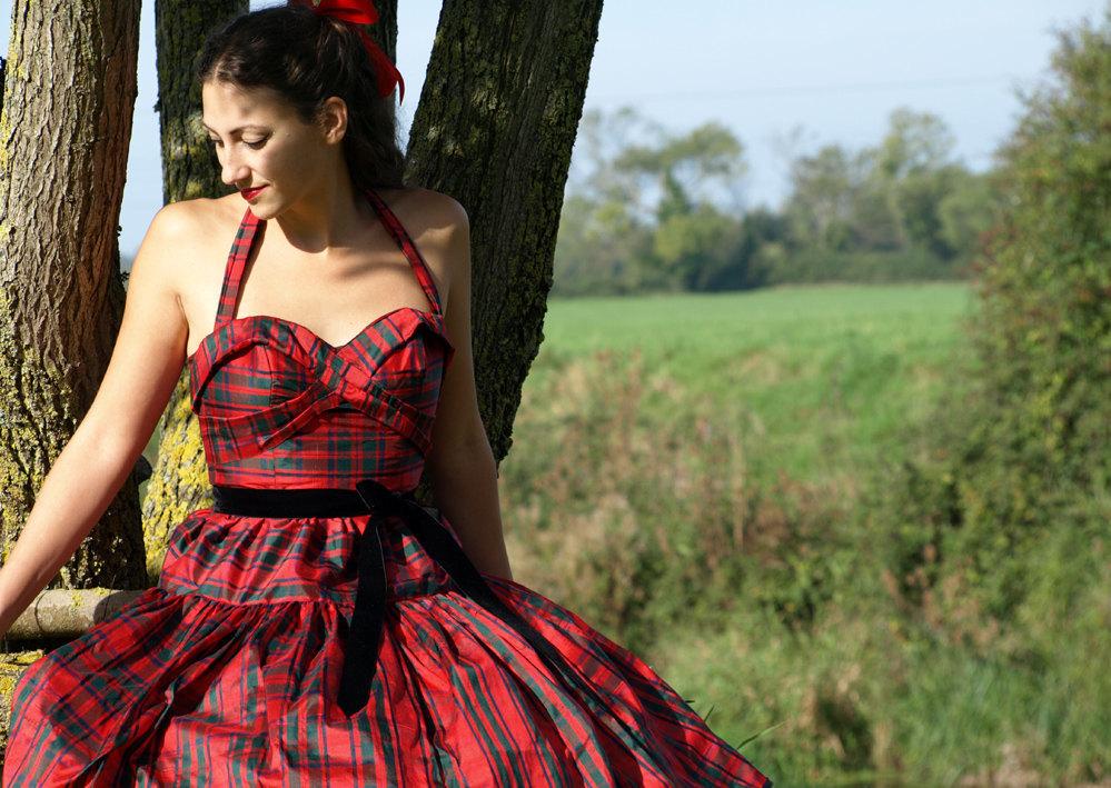 Red Tartan Silk Bridesmaid Dress