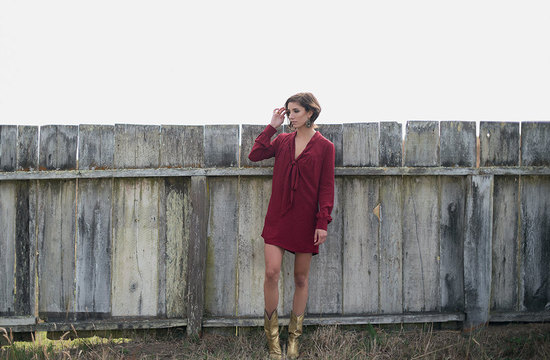 deep red polka dot shirt dress for bridesmaids