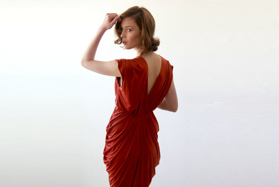 brick red bridesmaid dress with v back