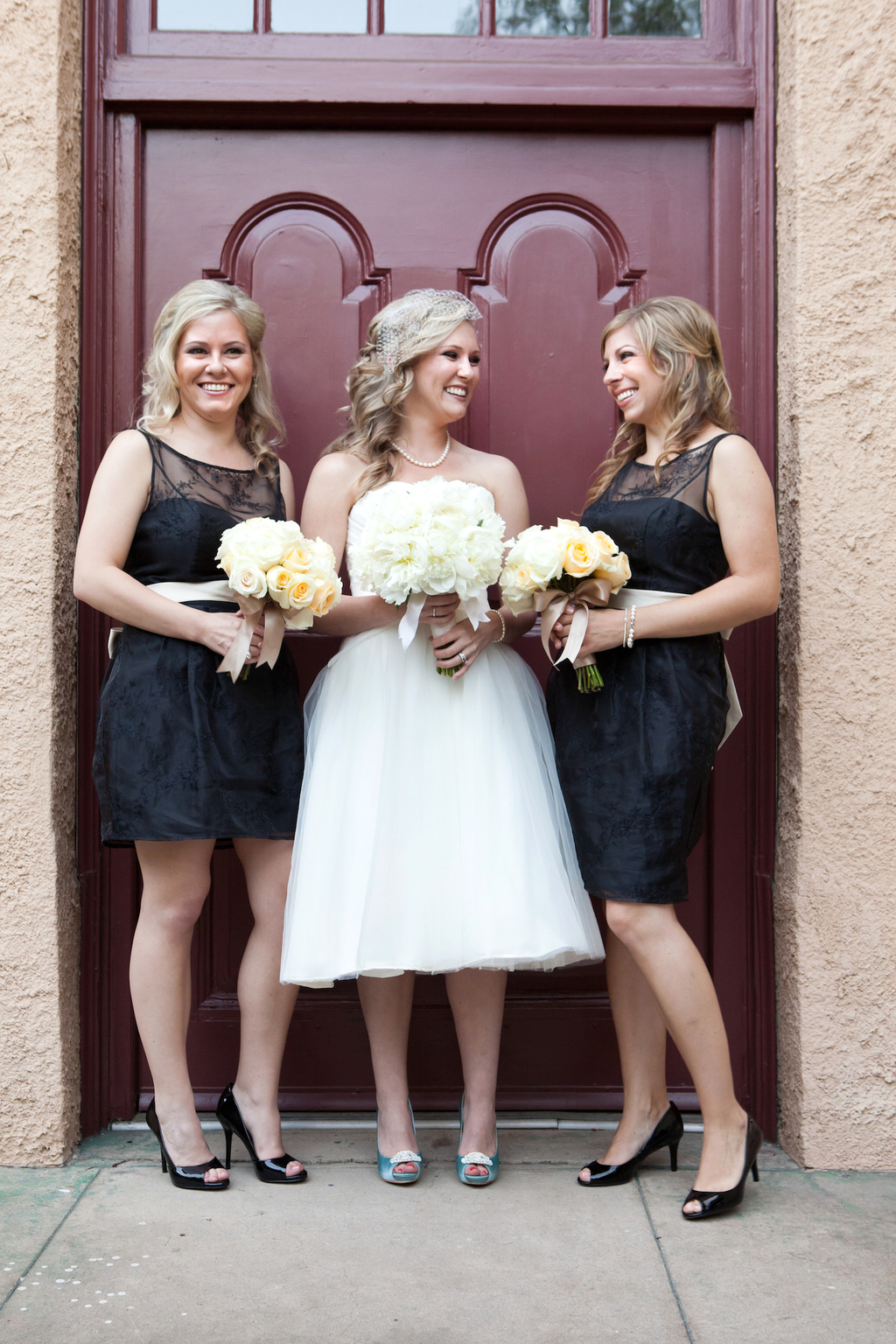 Tea length wedding gown long bridesmaid dresses the knot image ombrellifo Image collections