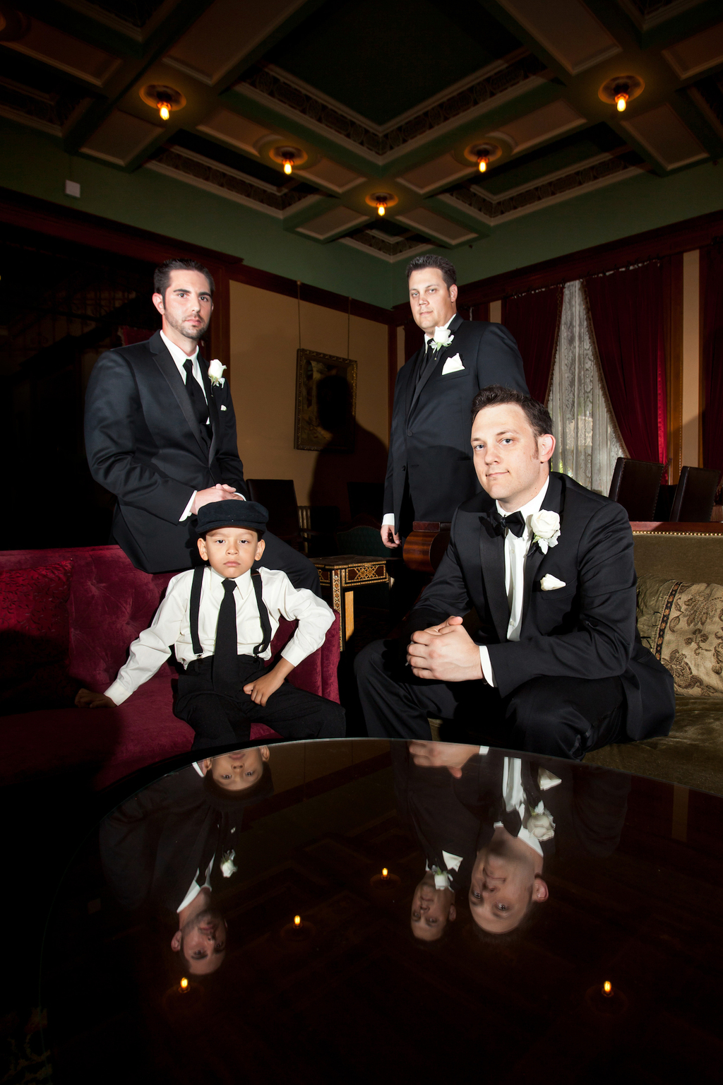 Classic-black-tie-groom-and-groomsmen-with-cute-ring-bearer.full