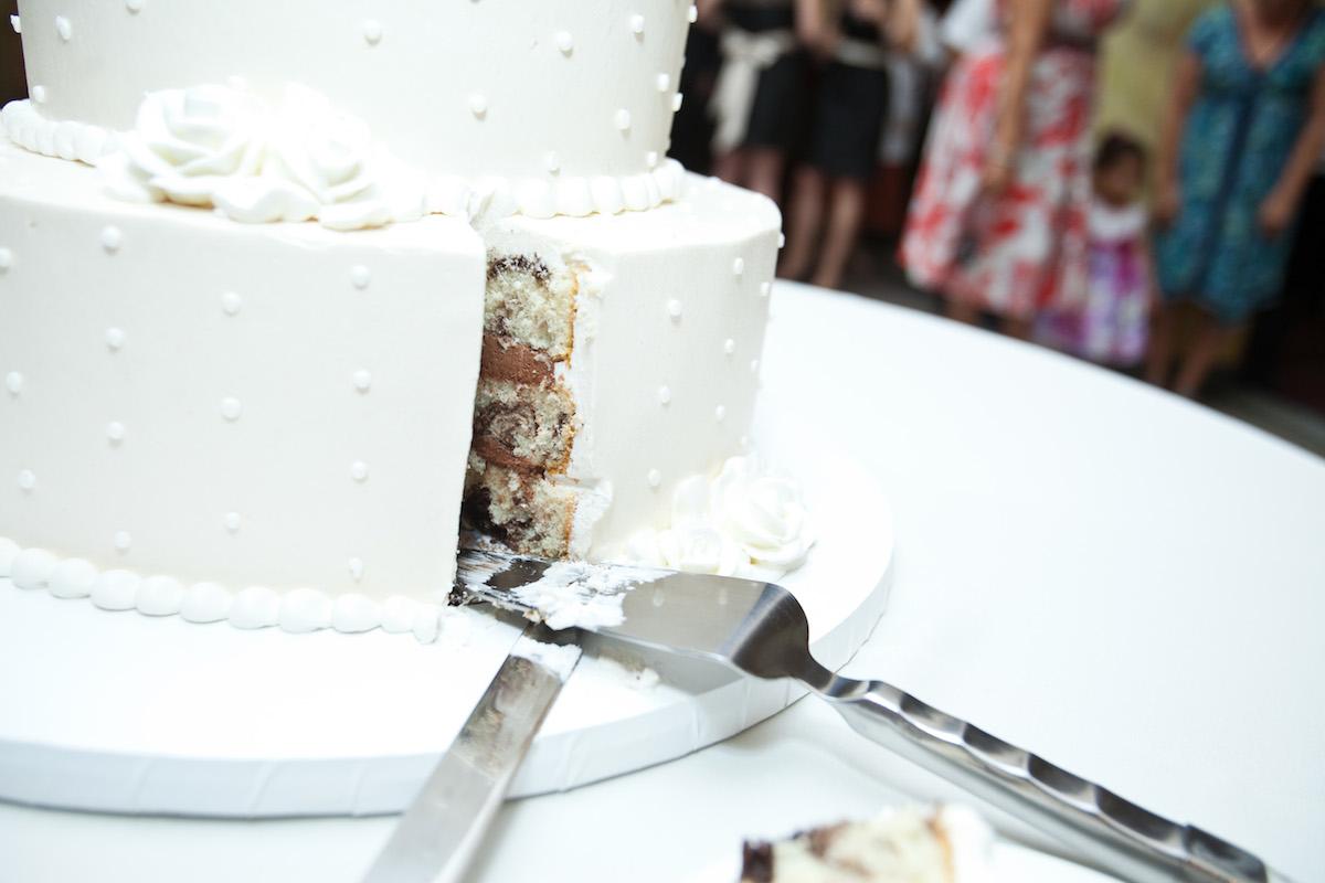 classic white wedding cake detail