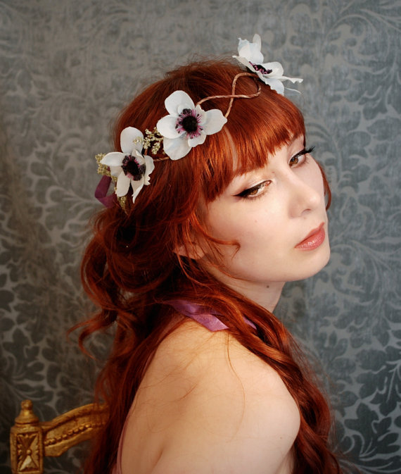 Boho Chic Wedding Hair Wreath Adorned With Anemones