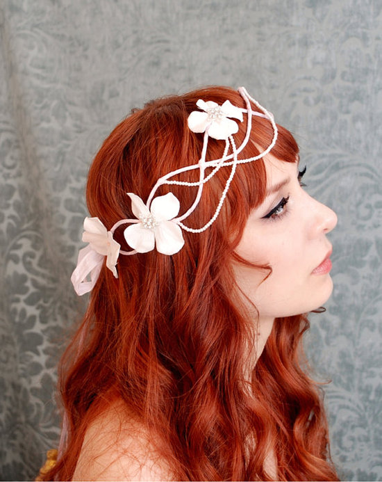 Bohemian bridal style and wedding hair wreath