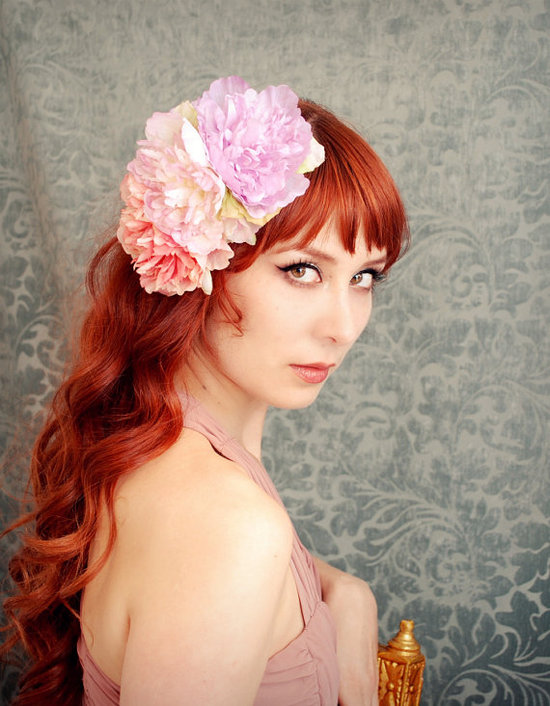 Bohemian bridal style wedding hair flowers
