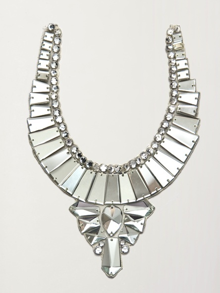 photo of Modern mirror statement bridal necklace via The Aisle New York