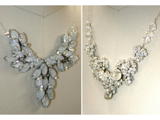 Chunky statement necklaces to add bling to a simple wedding dress
