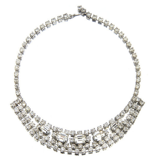 Blinged out vintage bridal necklace