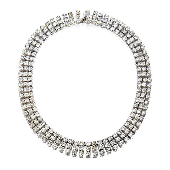 3-strand vintage diamante crystal wedding necklace