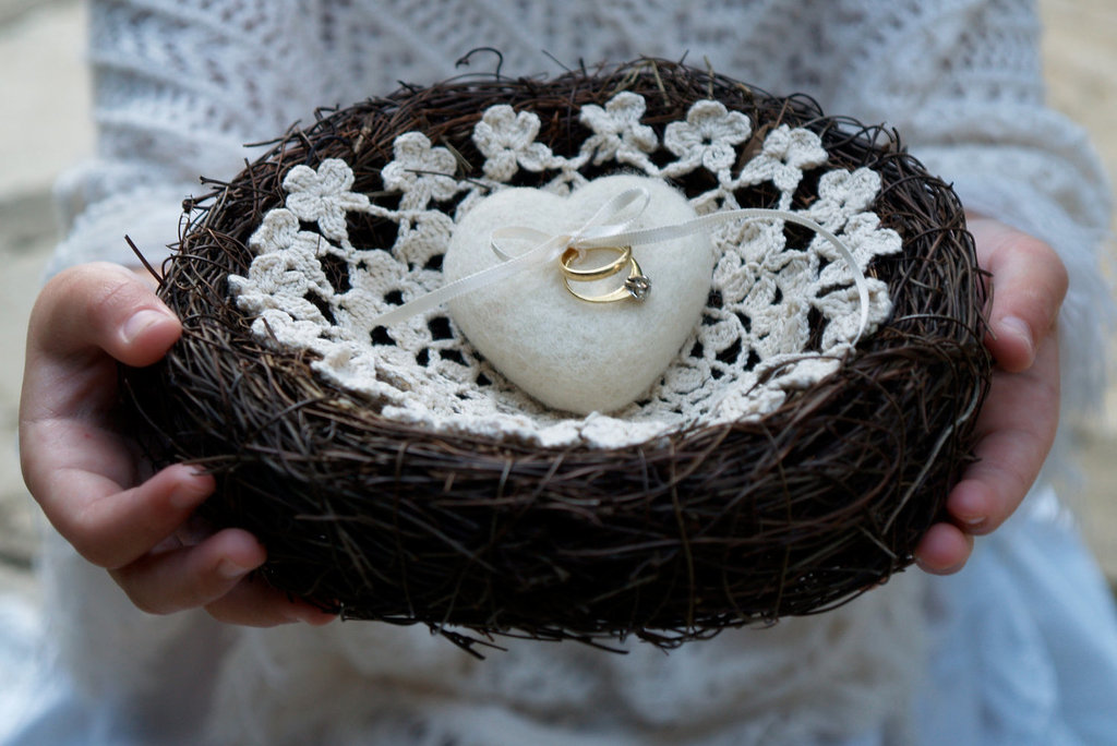 White felt heart ring bearer nest