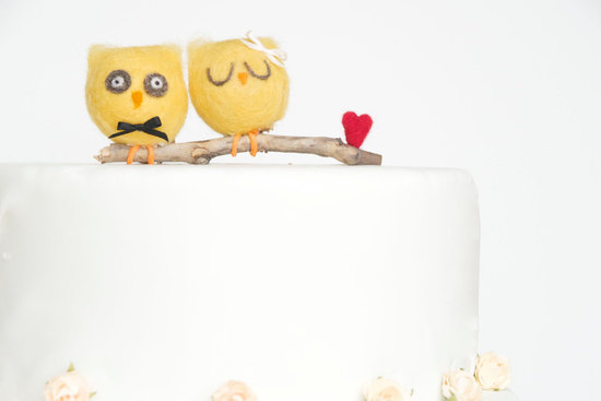 yellow owls with heart wedding cake topper