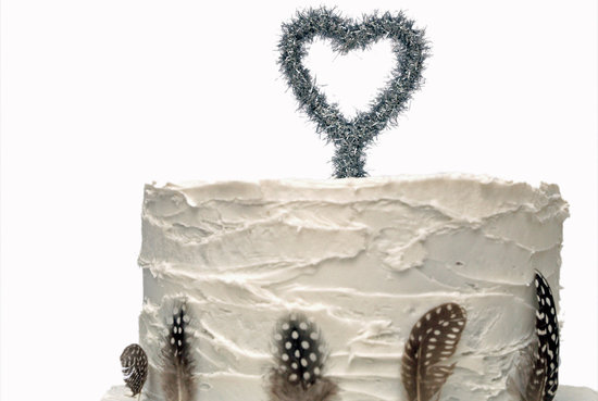 silver tinsel heart wedding cake topper