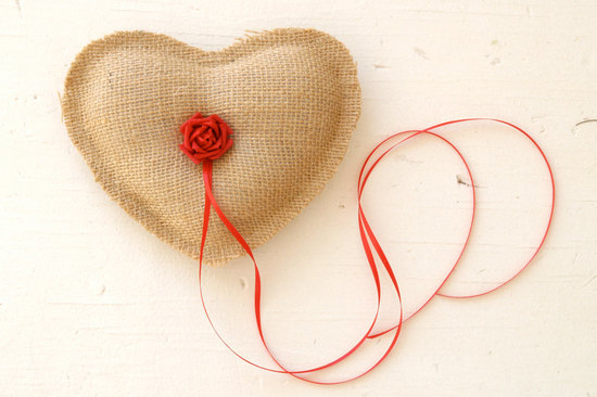 burlap heart wedding ring bearer pillow