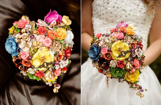 bright heart shaped brooch wedding bouquet