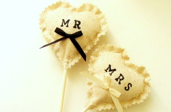 Mr and Mrs heart shaped wedding cupcake toppers