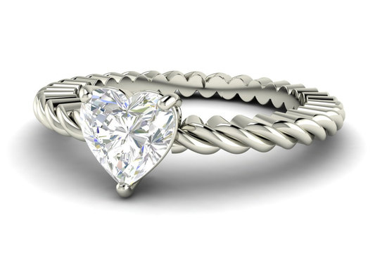heart shaped diamond engagement ring with twisted band