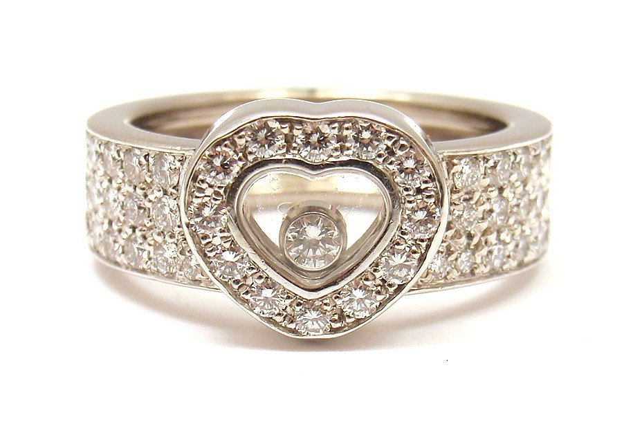 white gold chopard wedding ring with shaped design