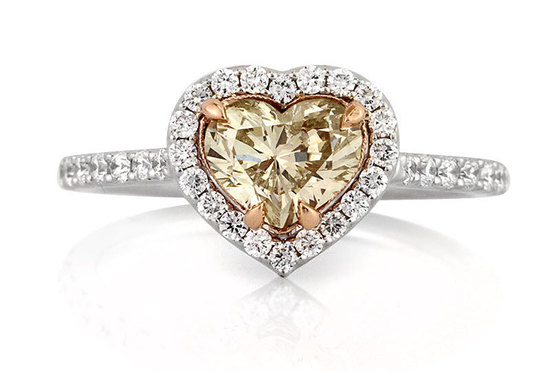 light brown heart shaped diamond engagement ring