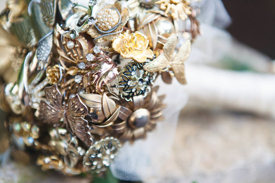 gold heart shaped brooch wedding bouquet