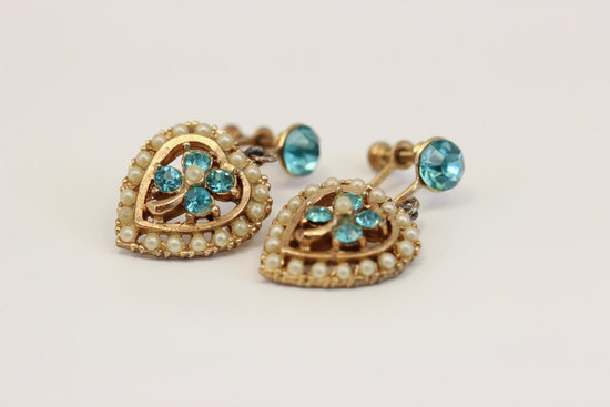 vintage heart gold and blue wedding earrings