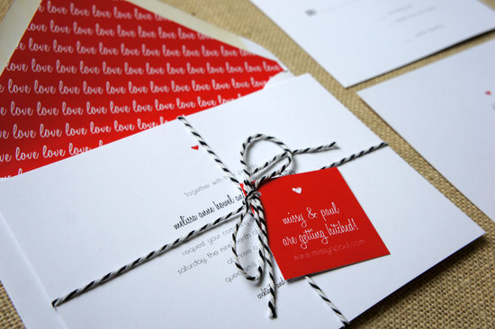modern hearts and love wedding invite