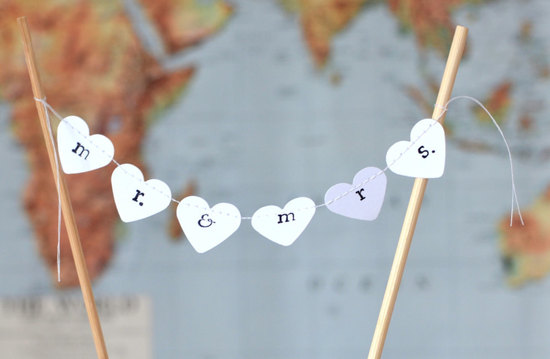 hearts bunting wedding cake topper
