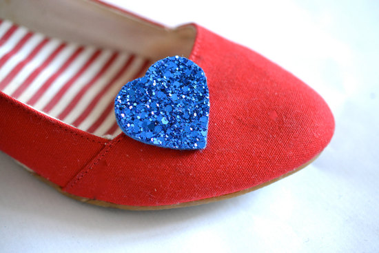 Royal blue glitter hearts wedding shoe clips