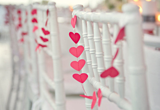 red hearts wedding chair decor