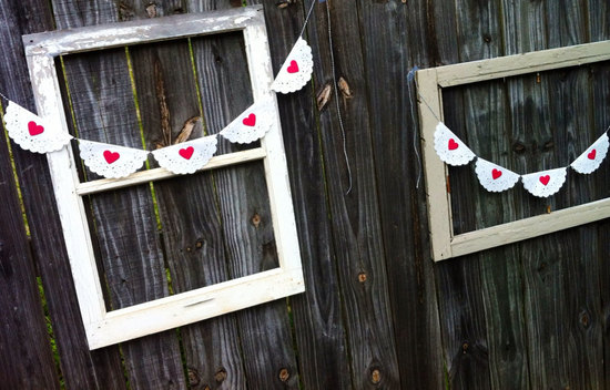 white doily wedding bunting with red hearts