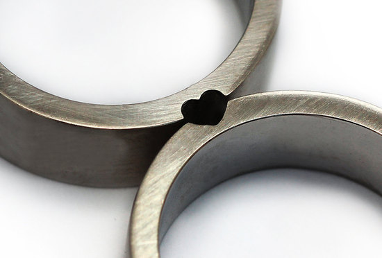 his and hers love heart wedding rings in sterling silver