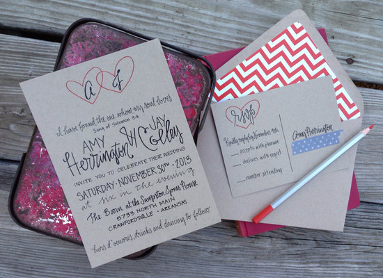 whimsical heart kraft paper wedding invitations
