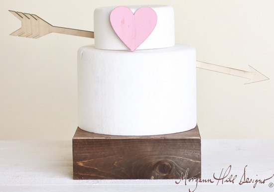 heart and arrow wedding cake topper