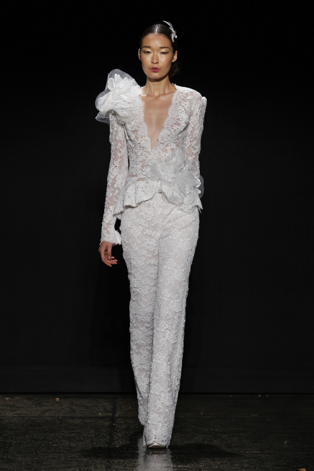 3440 lace wedding suit by Lazaro from Spring 2014 bridal
