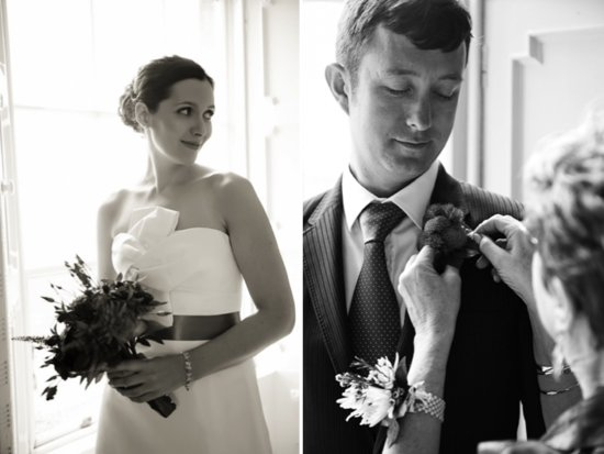 Classic bride holds statement bridal bouquet, groom wears classic tux