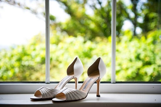 Open-toe Badgley Mischka wedding shoes