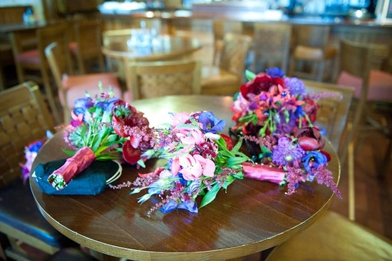 Vibrant wedding flowers and bridal bouquet locally grown