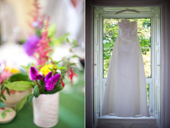 photo of Ivory wedding dress, colorful wedding flowers and reception centerpieces