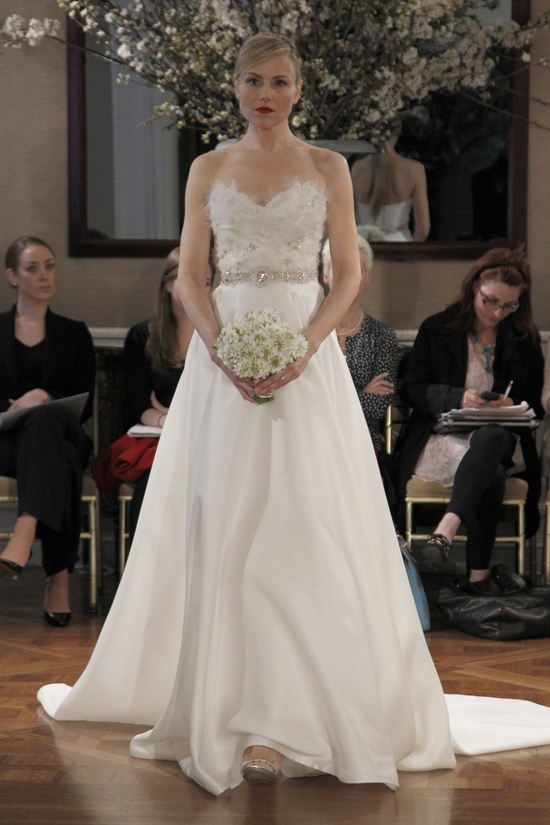 A-line wedding dress with embellished bodice and crystal bridal belt